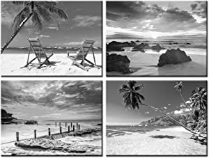 Nachic Wall Black and White Beach Wall Art 4 Piece Sea Sunrise Palm Tree Landscape Picture Painting on Canvas for Modern Home Living Room Bathroom Decor Gallery Canvas Wrapped Ready to Hang