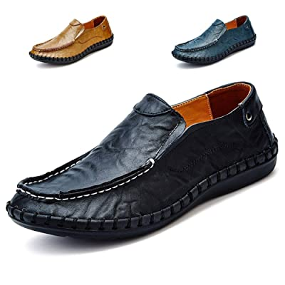 Noblespirit Men's Driving Shoes Leather Fashion Slipper Casual Slip On Loafers Shoes   Loafers & Slip-Ons