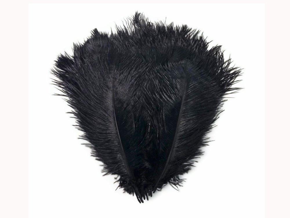 Ostrich Feathers , 6-8'' Black Wholesale Ostrich Drabs Feathers (Bulk) - 100 Pieces