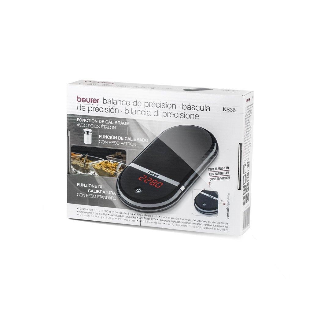 Beurer KS-36 - Balanza de cocina de precisión, medición 2 kg, para pigmentos y condimentos, color negro (Reacondicionado Certificado): Amazon.es: Hogar