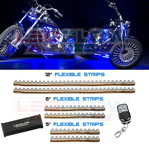 LEDGlow 6pc Blue Flexible Motorcycle Lighting Kit - 114 LEDs - Strobe and Flash Modes - Wireless Remote ()