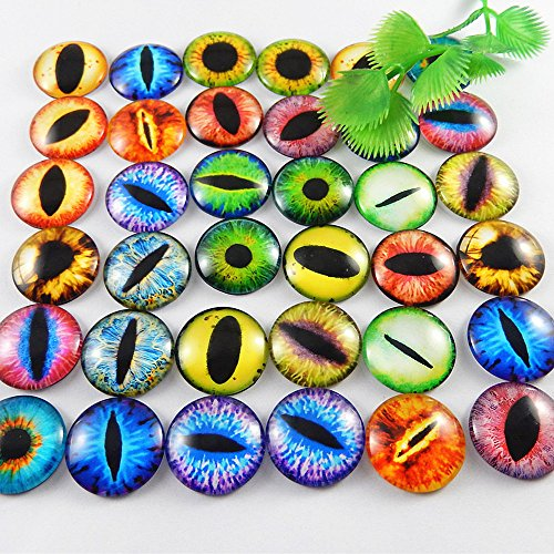 Julie Wang 25mm 20pcs Mixed Style Dragon Eyes Round time gem cover Glass Cabochon Dome Jewelry Finding Cameo Pendant Settings