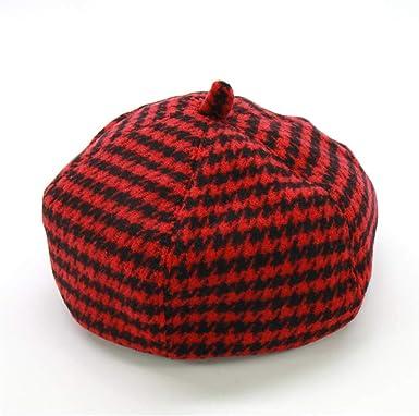 Mujer hermosa Pegajoso Político  Amazon.com: Boina de lana para niñas de pata de gallo, boinas  otoño-invierno cálidas gorras rojas boina francesa sombrero 2 5 años de  edad, talla única: Clothing