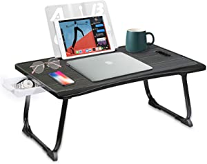 Laptop Desk - Foldable Portable Lap Desk for Laptop, Bed Desk with Ipad Holder/Storage Drawer/Cup Holder/Book End/Handle, Bed Tray Table for Eating/Working/Writing/Reading, for Bed/Couch/Floor(Black)