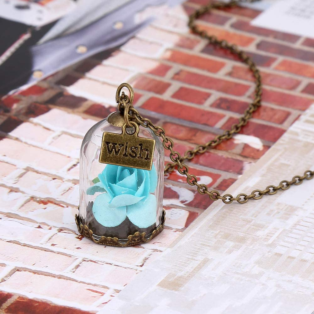Women Pendant Necklace,Haluoo Vintage Rose Flower with Bottle Pendant Chain Girls Handmade Pendant Necklace for Lover Wish Bottle Pendant Necklace Antique Brown Long Sweater Chain