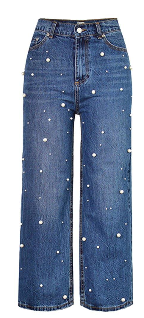 GALMINT Womwn's Classic High Waist Pearl Beading Wide Leg Straight Jeans Denim Pant Blue