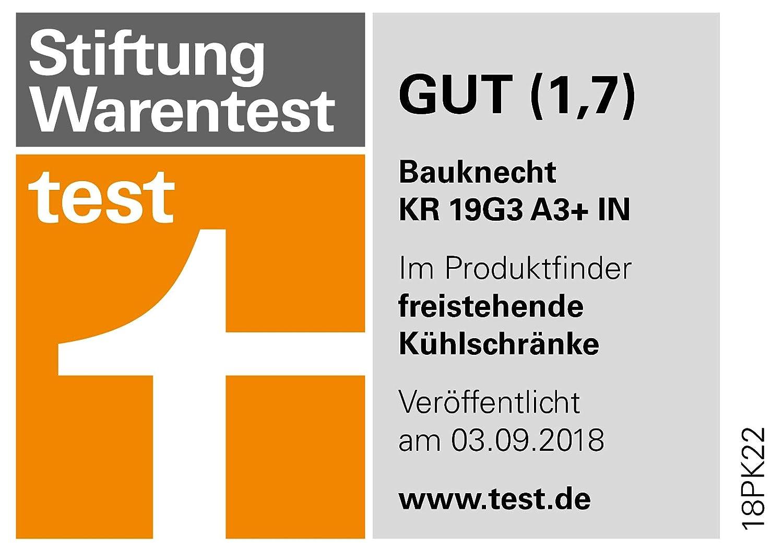 IN K/ühlschrank kombinierbar mit GKN 19G3I A3 187,5 cm H/öhe Bauknecht KR 19G3 A3 363 L Gesamtnutzinhalt IN leise mit 37 dB 76 kWh//Jahr ProFresh Edelstahl