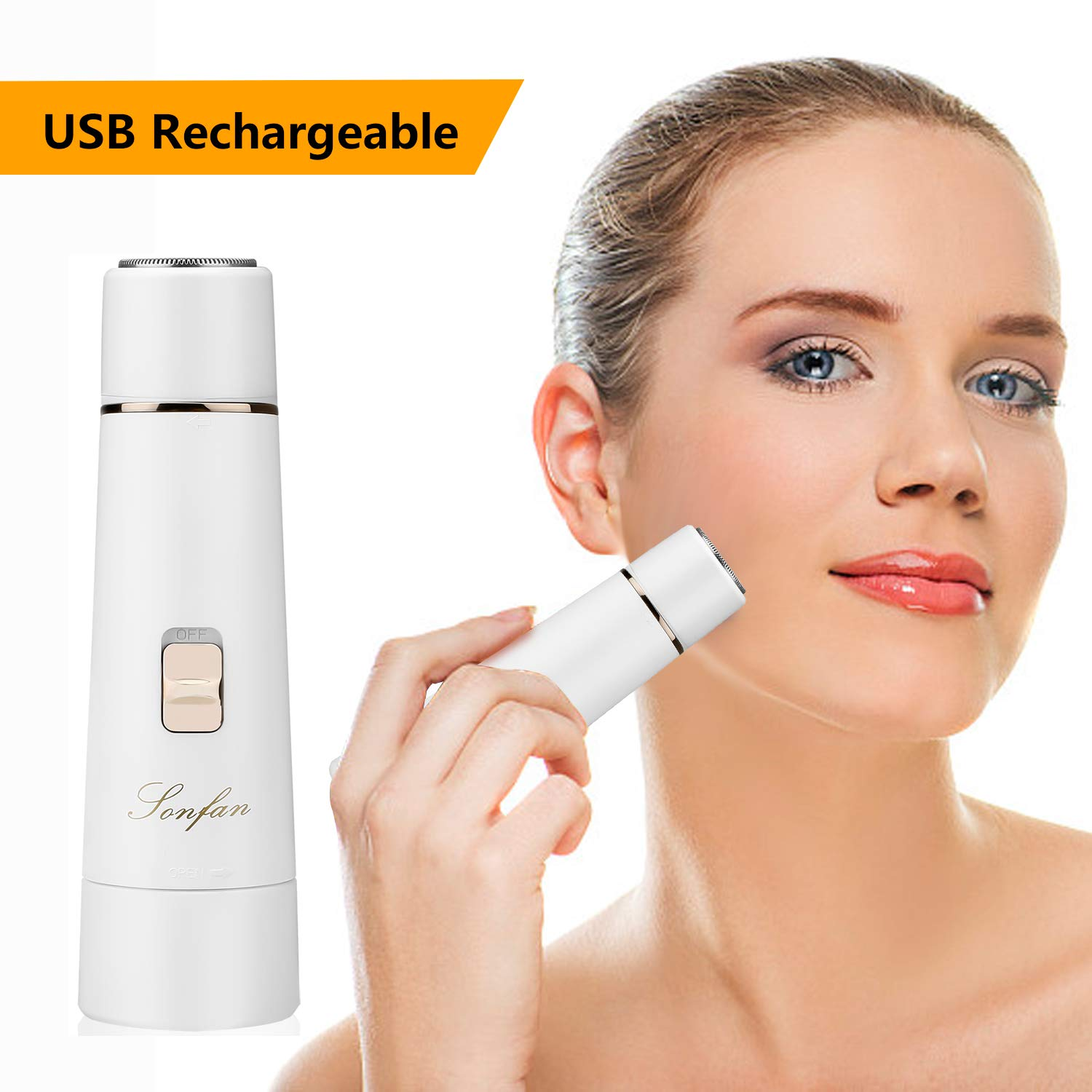 Facial Hair Removal for Women Rechargeable - 2019 USB Rechargeable Hair Remover Trimmer for Face, Armpit, Chin and Full Body, Best Gift for Women