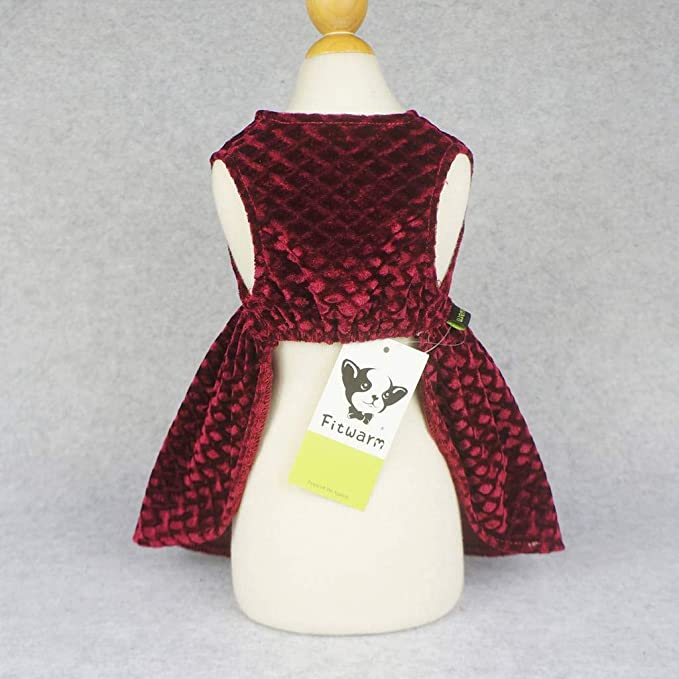 Amazon.com   Fitwarm Christmas Dog Dresses for Pet Clothes Cat Vest Dresses  Apparel Lightweight Velvet Red XS   Pet Supplies 7f06ff2d4