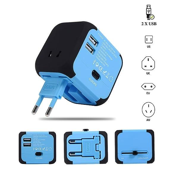 Travel Adapter Elektrische Stecker Sockets Converter mit Dual USB Ladekabel 2,4 A LED-Betriebsanzeige Elektrische Stecker Int
