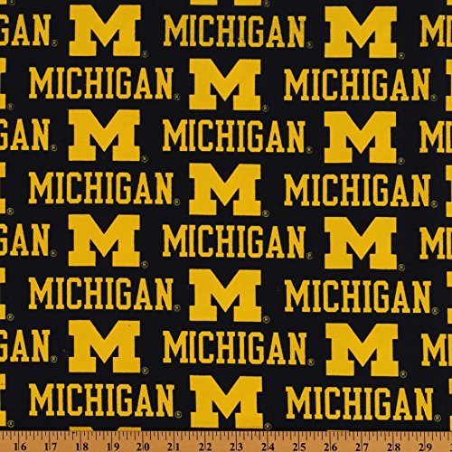 CottonBlend Twill University of Michigan Wolverines Twill Fabric Print by the Yard ()