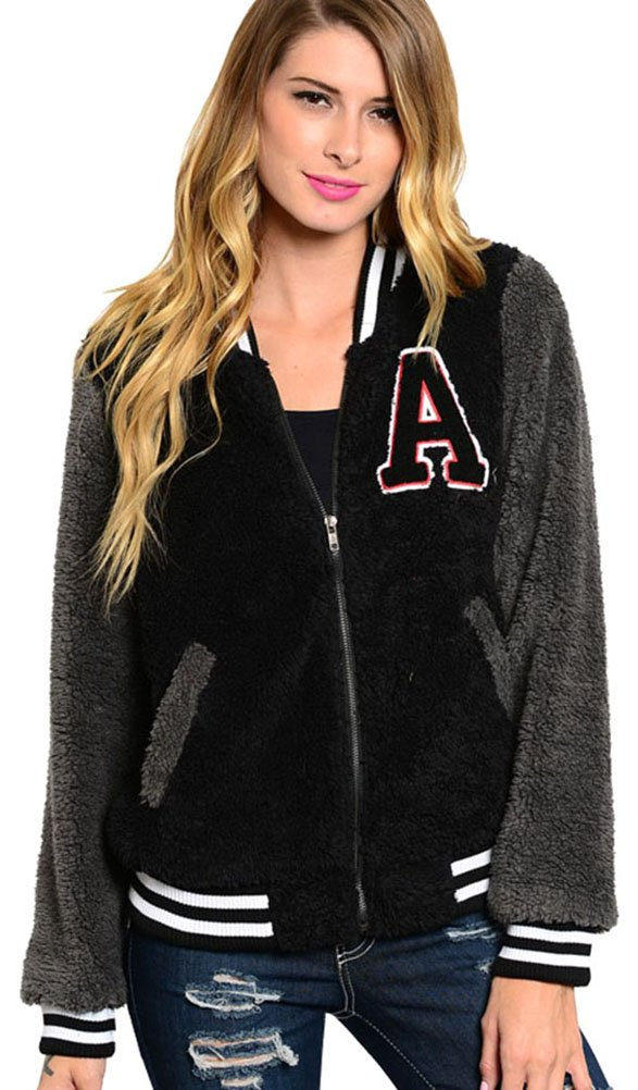 Simplicity Varsity Style Jacket w/ Full Zipper/Pockets, Furry, Black/Grey, S