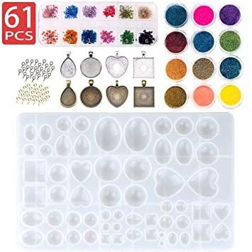 12X Silicone Mould Mold for Resin Round Necklace Jewelry Pendant DIY Making tool bead making Jewellery Making Kits
