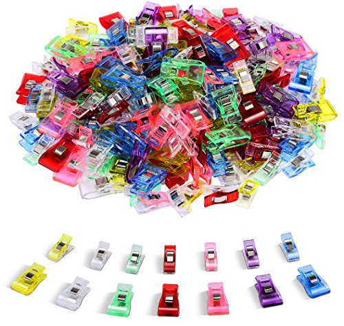 100 PCS-2 Sizes Ipow Plastic Clips Multicolor for Sewing Clips,Crafting,Crochet and Knitting,All Purpose Clips for Quilting Binding Clips,Paper Clips,Blinder Clips Sewing And Knitting