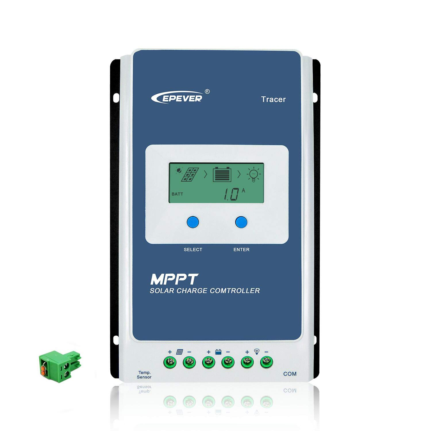 EPEVER MPPT Solar Charge Controller 40A 12V/24V Auto Common Negative Grounding with LCD Display Max PV 100V Solar Panel Battery Charging Regulator for Gel Flooded Sealed Lithium Battery (40A MPPT)