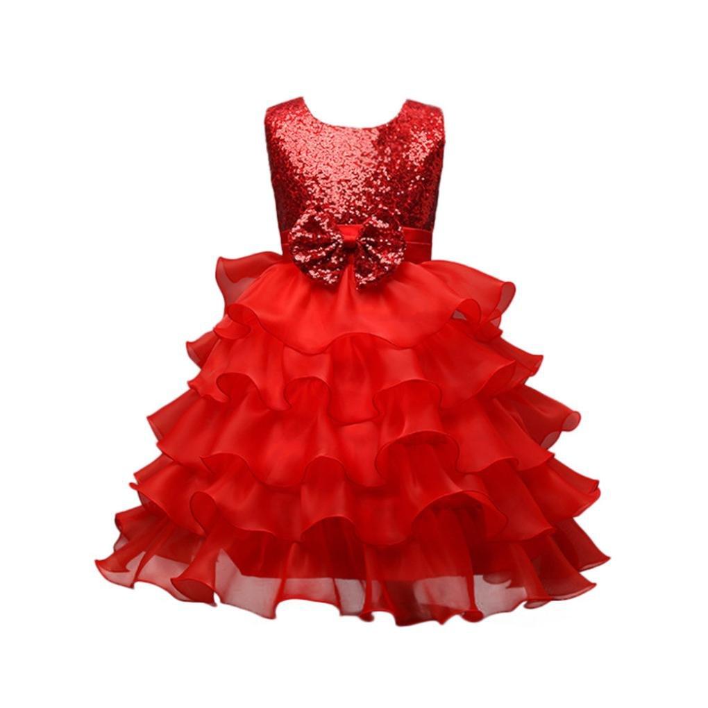 UOMOGO® Ragazze Vestito Festa da Principessa Paillettes Matrimonio Farfalla e fiore Vestito per Compleanno Partito Festa Nuziale Prom 4-8 Anni