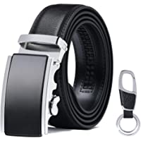 flintronic Men's Leather Belt, Automatic Buckle Italian High Quality Leather Ratchet Belt 3.5cm * 130cm (Keychain & Gift Box Include)