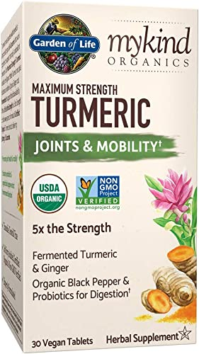 Garden of Life mykind Organics Maximum Strength Turmeric Joints Mobility Support 30 Tablets – 500mg Curcumin 95 Curcuminoids Black Pepper – Organic Non-GMO Vegan Gluten Free Herbal Supplements