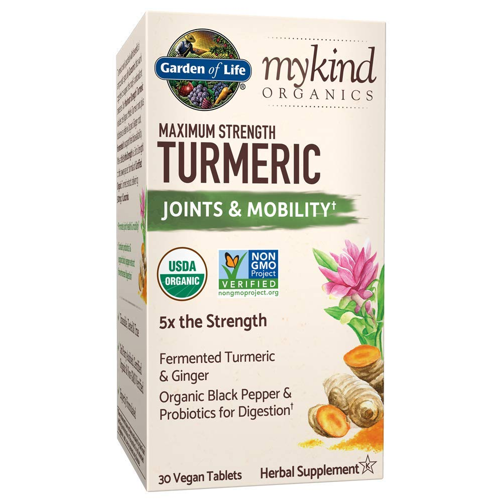 Garden of Life mykind Organics Maximum Strength Turmeric Joints & Mobility Support 30 Tablets - 500mg Curcumin (95% Curcuminoids) Black Pepper - Organic Non-GMO Vegan & Gluten Free Herbal Supplements