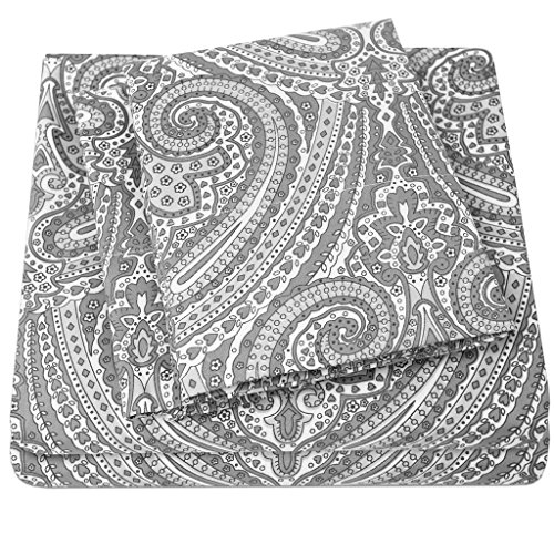 1500 Supreme Collection Bed Sheets - Luxury Bed Sheet Set with Deep Pocket Wrinkle Free Hypoallergenic Bedding - 4 Piece Sheets - Paisley Print- King, Gray