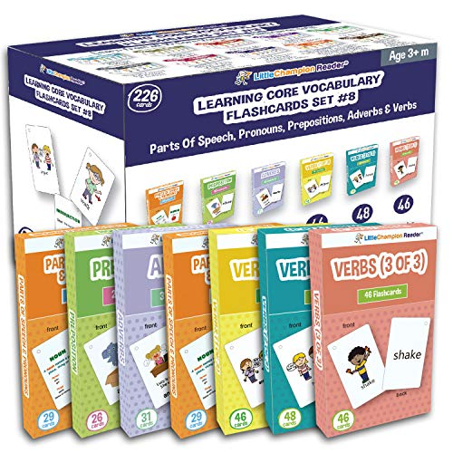 - Little Champion Reader Set 8 Flash Cards for Toddlers - 226 Parts of Speech & Pronouns, Adverbs, Preposition and Action Verb Flash Cards - Learning for Baby Toddler Preschool Kindergarten