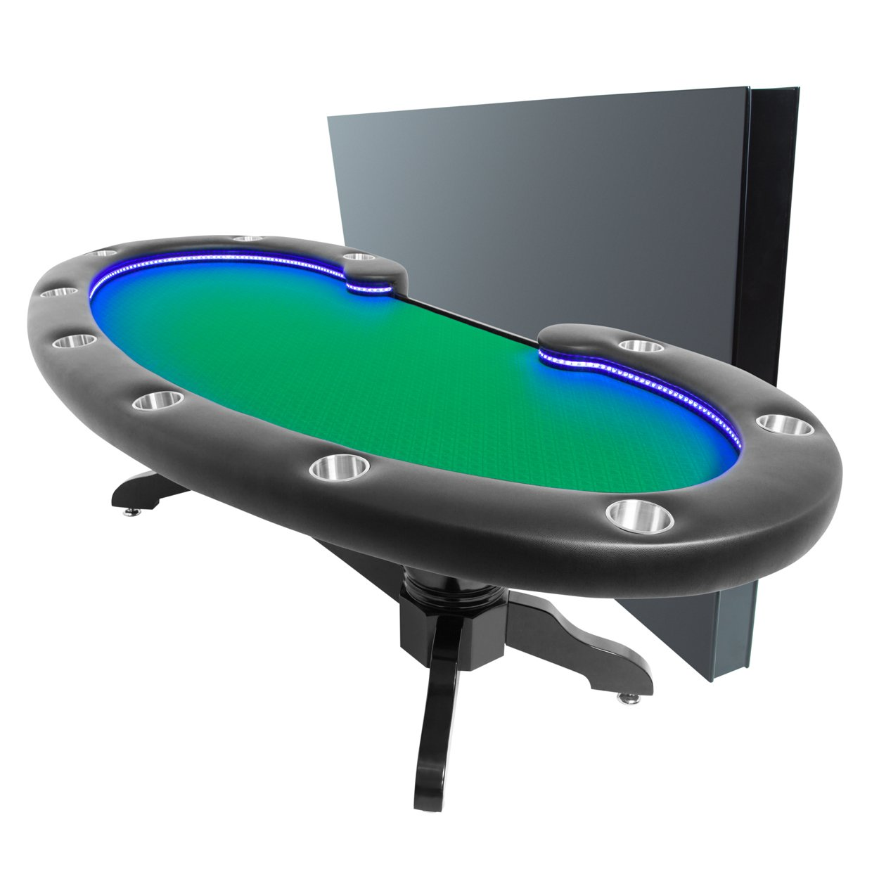BBO Poker Lumen HD Lighted Poker Table for 10 Players with Green Speed Cloth Playing Surface, 101.5 x 46-Inch Oval, Includes Matching Dining Top