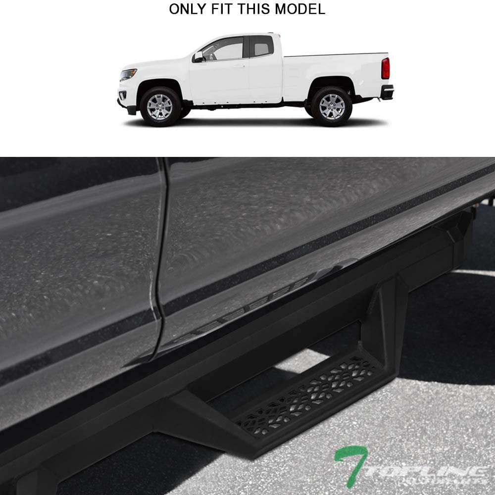 Topline Autopart Matte Black Aluminum Hoop Drop Step Side Nerf Bars Rail Running Boards v2 For 15-20 Chevy Colorado//GMC Canyon Extended Cab