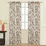 United Curtain FIO95BLK Fiona Window Curtain Panel Pairs, 74″ x 95″, Black