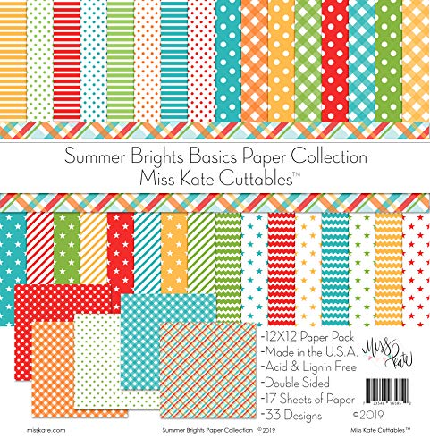 (Pattern Paper Pack - Summer Brights Basics - for Vacation - 17 Double-Sided 12