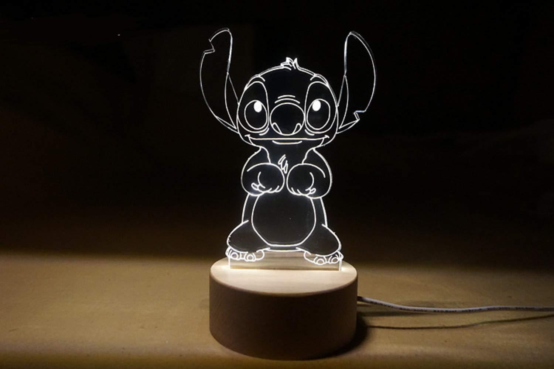 3D Lampes Illusions Optiques Nuit Lumière LED Bureau Table Lampe 7 Couleur Tactile Lampe Maison Chambre Bureau Décor (Stitch-A) Ginkago