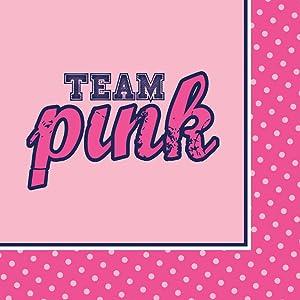 Creative Converting 18 Count Gender Reveal Beverage Paper Napkins, Team Pink/Team Blue