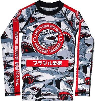 Hardcore Training Sharks Kids Rash Guard Camisa de Compresión Manga Larga Ninos BJJ MMA Fitness Workout Ropa Deportiva: Amazon.es: Deportes y aire libre