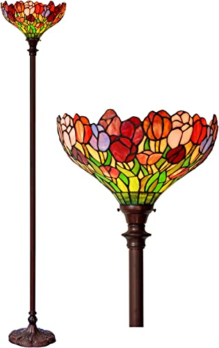 Floor Lamp E26x1 Bulbs 14 Inch Wide Stained Glass Home Decor Light Tulip Design Lamp Shades Iron Base HT-Tiffany Light