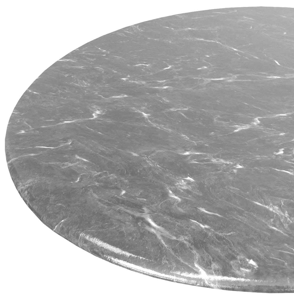 Table Cloth Round 36'' to 48'' Elastic Edge Fitted Vinyl Table Cover Grey Granite Marble by Table Magic