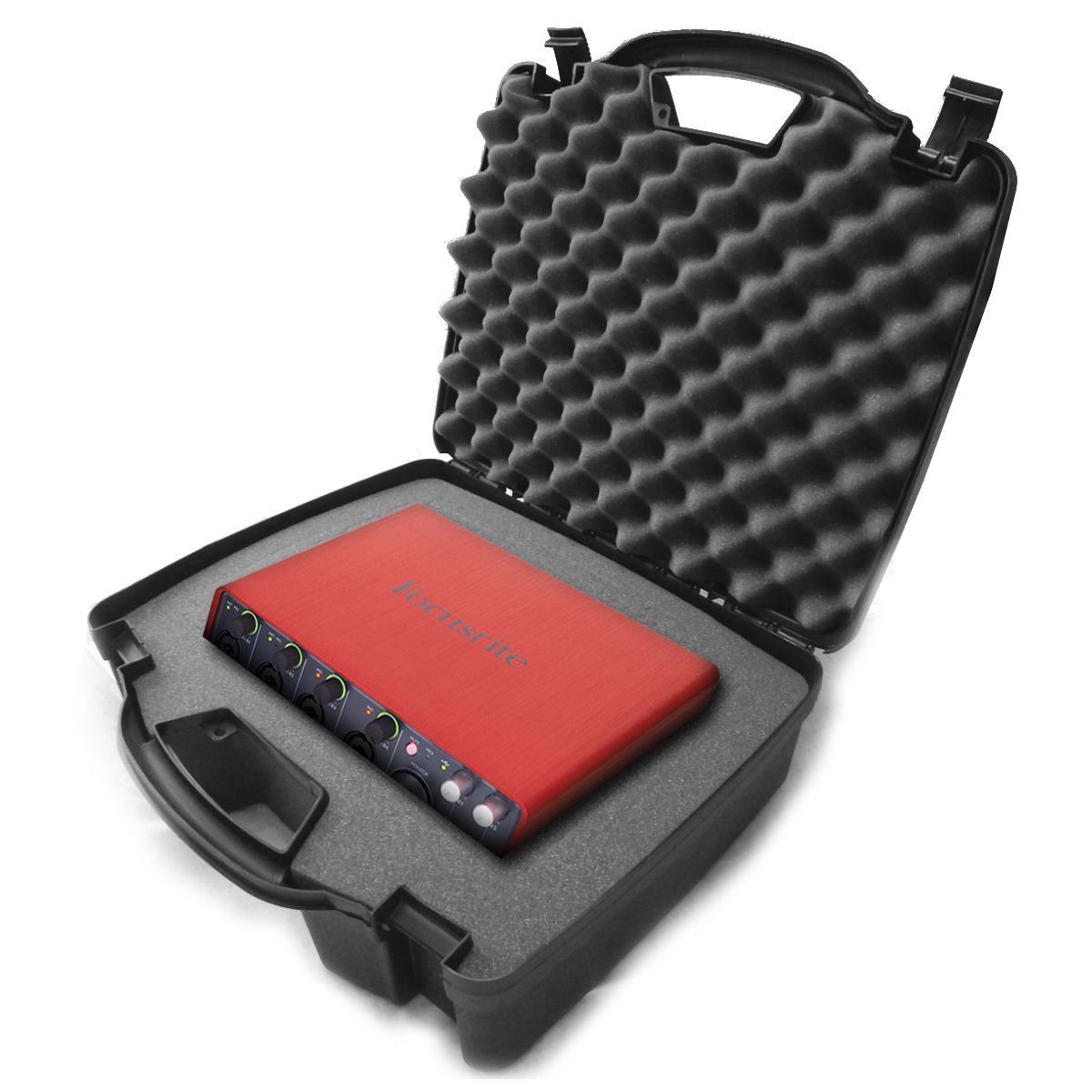 STUDIOCASE Protective Carrying Travel Hard Case with Dense foam - fits Studio USB Desktop Stereo Recorders Focusrite Scarlett 2i2 , 6i6 , 2i4 , 18i8 , Solo Compact USB Audio Interfaces and Recording Mixer Accessories by Distro-Tech