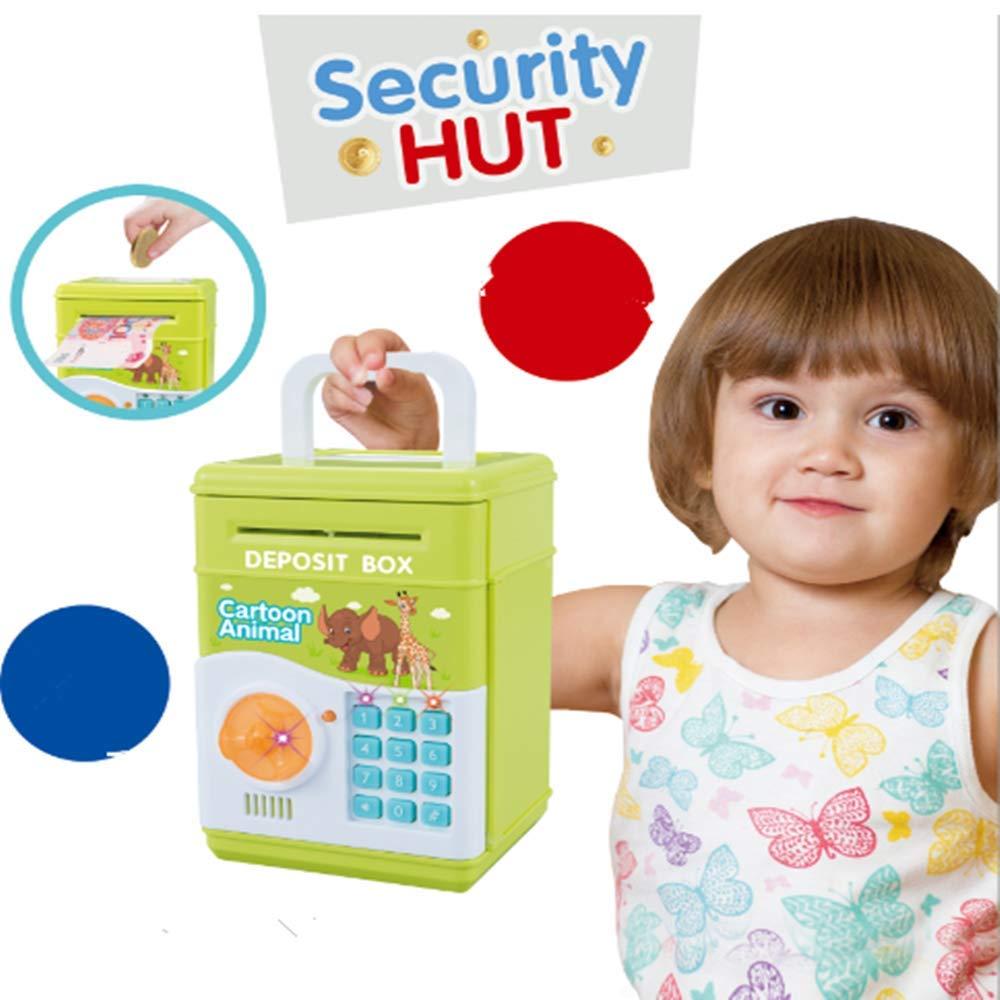Colore Verde per Bambini 1 salvadanaio elettronico con Password a Forma di Maialino KINGBOT