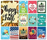 Happy Yard Seasonal Garden Flag Set for Outdoors | Set of 12 Artistically Designed Flags | 12-inch x 18-inch | Holiday Themed, Durable & Double-Sided