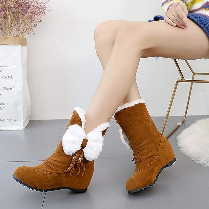 ❤ Botas de Nieve Mujer de Invierno, Mujeres Gamuza Arco Borla cuñas del Dedo del pie Redondas Zapatos Mantener cálidas Botas para la Nieve sin Cordones ...