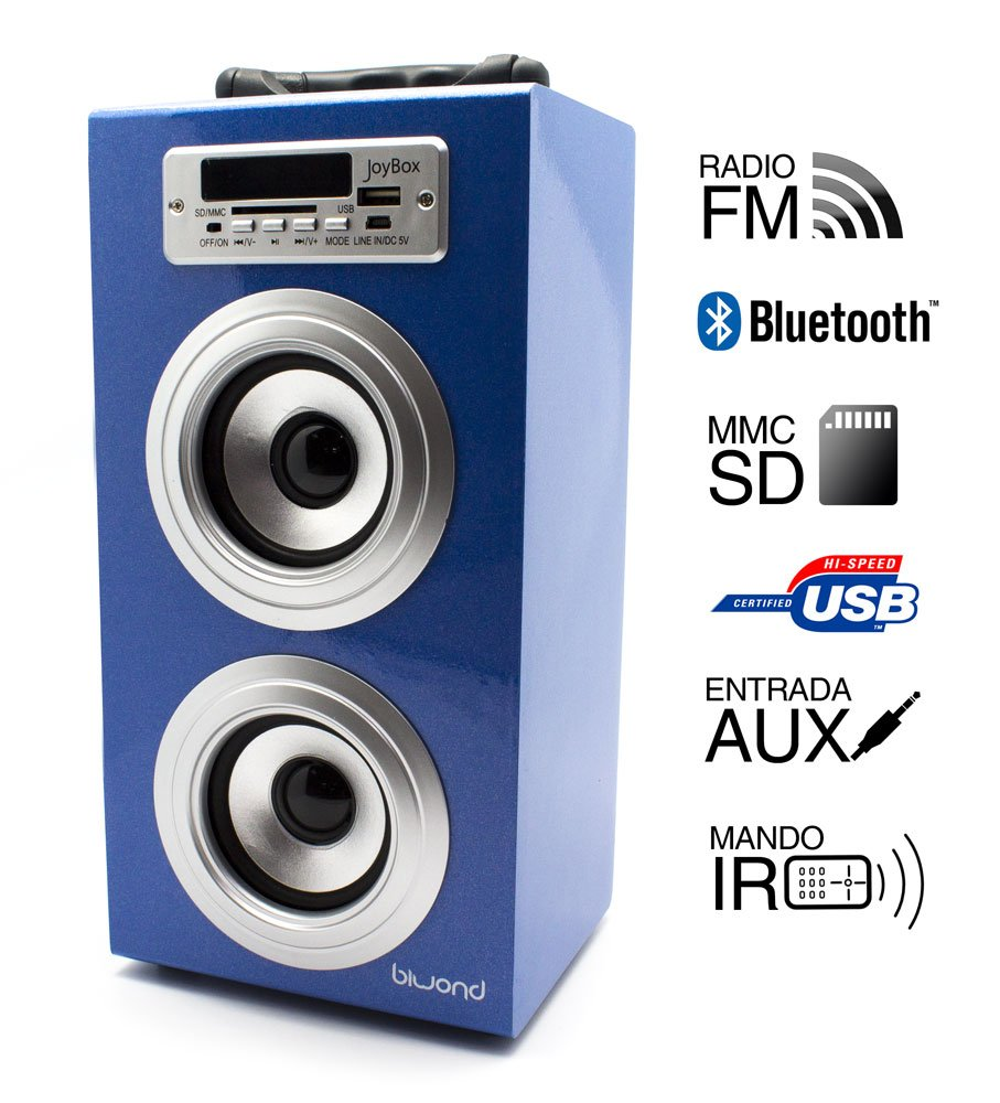 Reproductor Altavoz Bluetooth Radio MP3 USB SD MMC AUX Blue