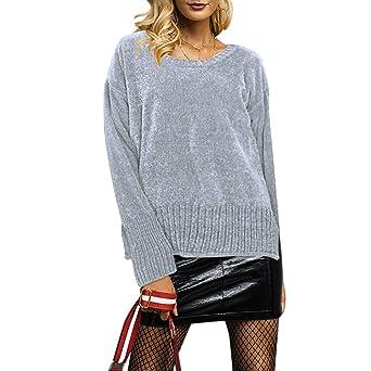 Luckycat Manga Larga de Las Mujeres del O-Cuello de la Manga más tamaño Que Hace Punto Remata la Blusa suéter sólida: Amazon.es: Ropa y accesorios