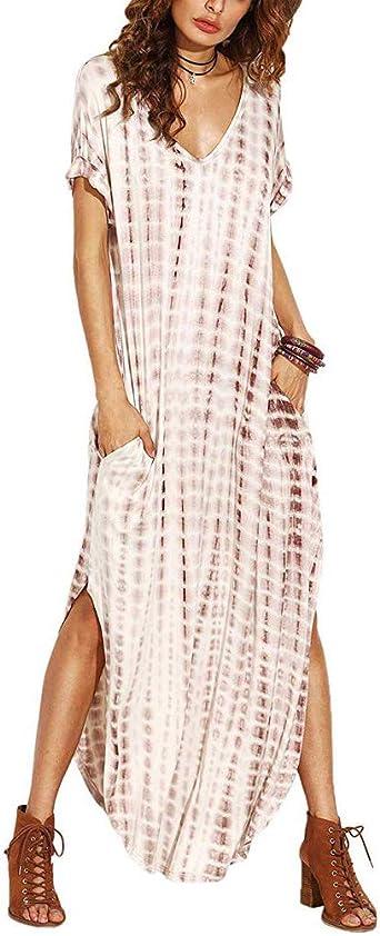 ORANDESIGNE Vestidos Mujer Casual Playa Largos Verano Tie Dye Vestido Boho Hendidura Falda Larga Maxi Vestido Playeros: Amazon.es: Ropa y accesorios