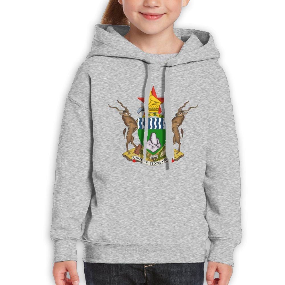 DTMN7 Coat Of Arms Of Zimbabwe Funniest Printed O-Neck Hoodie For Kids Spring Autumn Winter