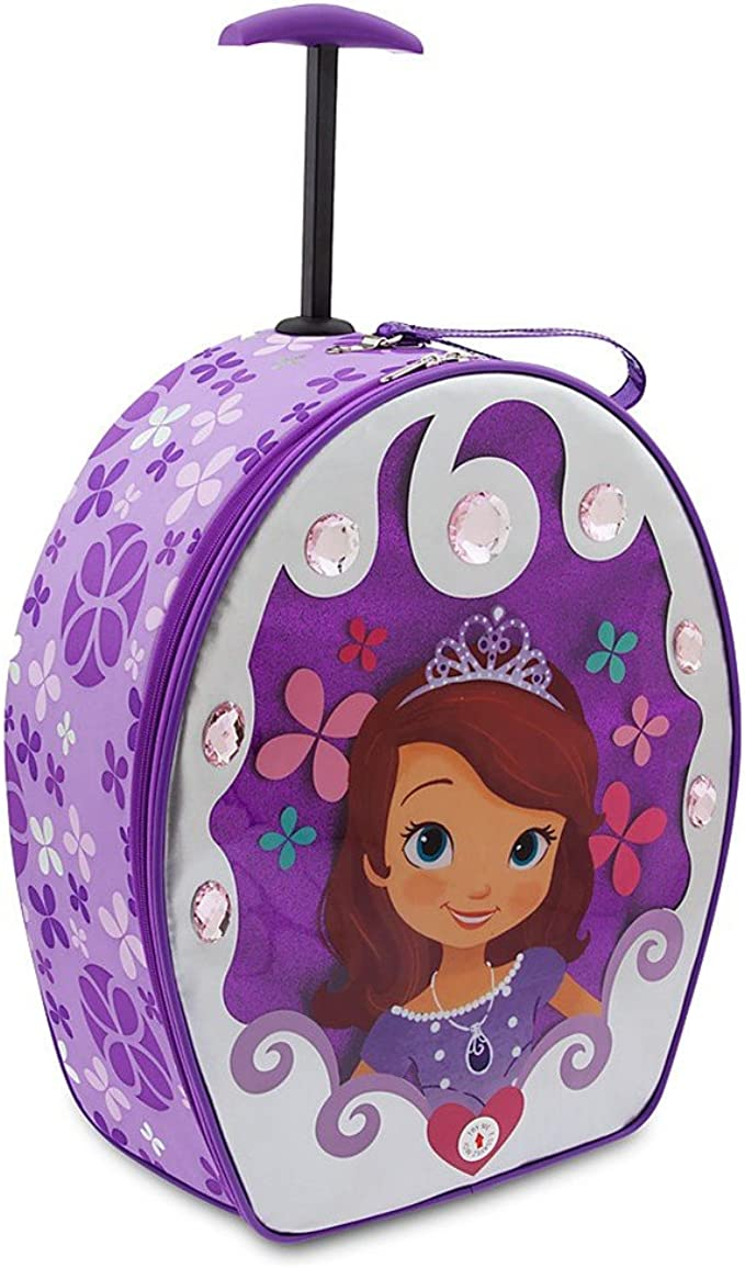 Sofia the First Large 16 Inch Cloth Backpack With Wheels Purple Heart