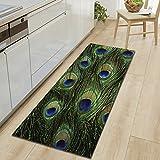 WSHINE 15.7'47.2' Peacock Feather Floor Runner Rug Kitchen Mats Indoor Outdoor Doormat Window Room Mat