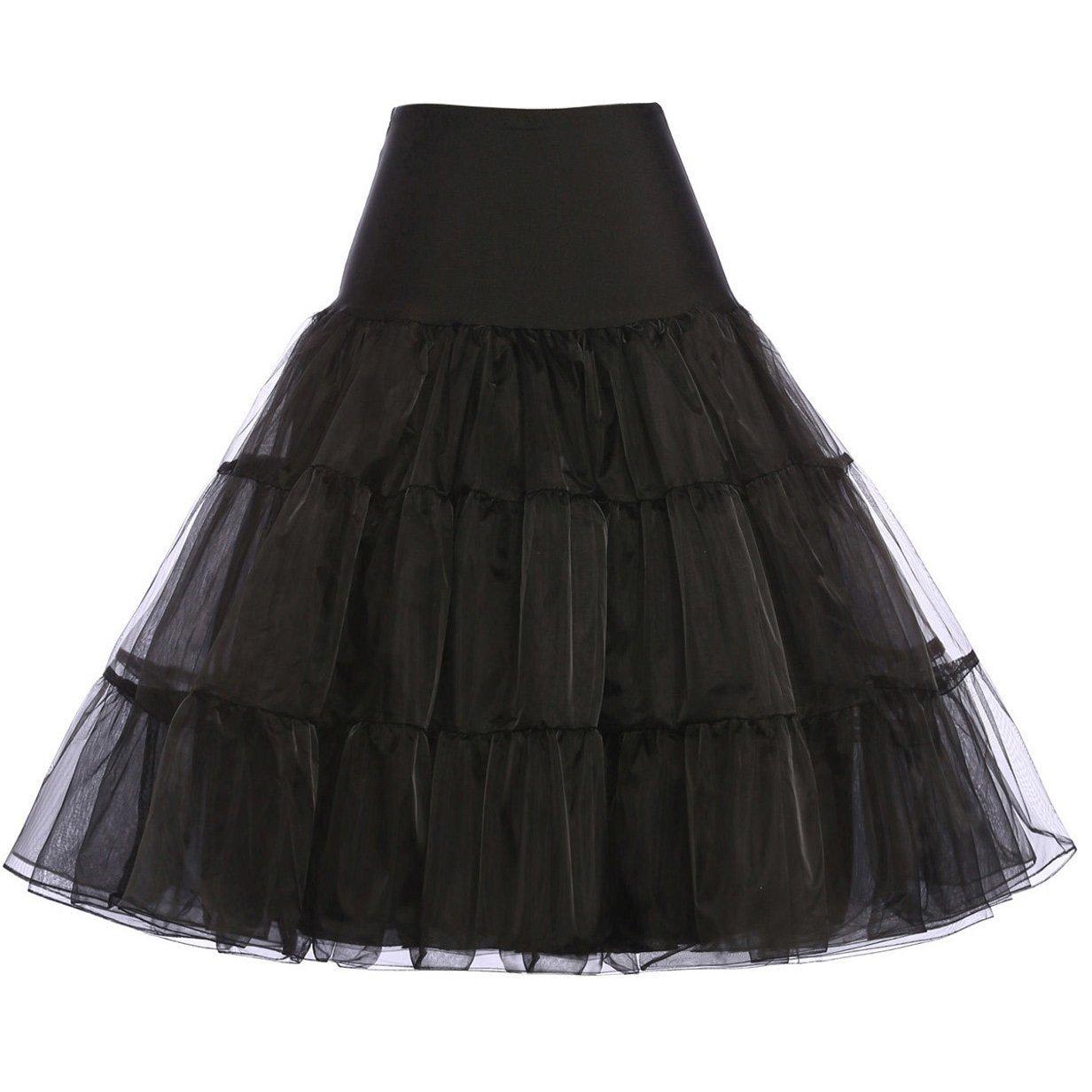 GRACE KARIN Womens Vintage Black Petticoat Knee Length Slip for 50s Dresses Size M