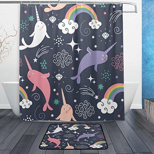 ALAZA Cartoon Narwhal Unicorn Fish Waterproof Polyester Fabric Shower Curtain 60 W X 72 H Inch