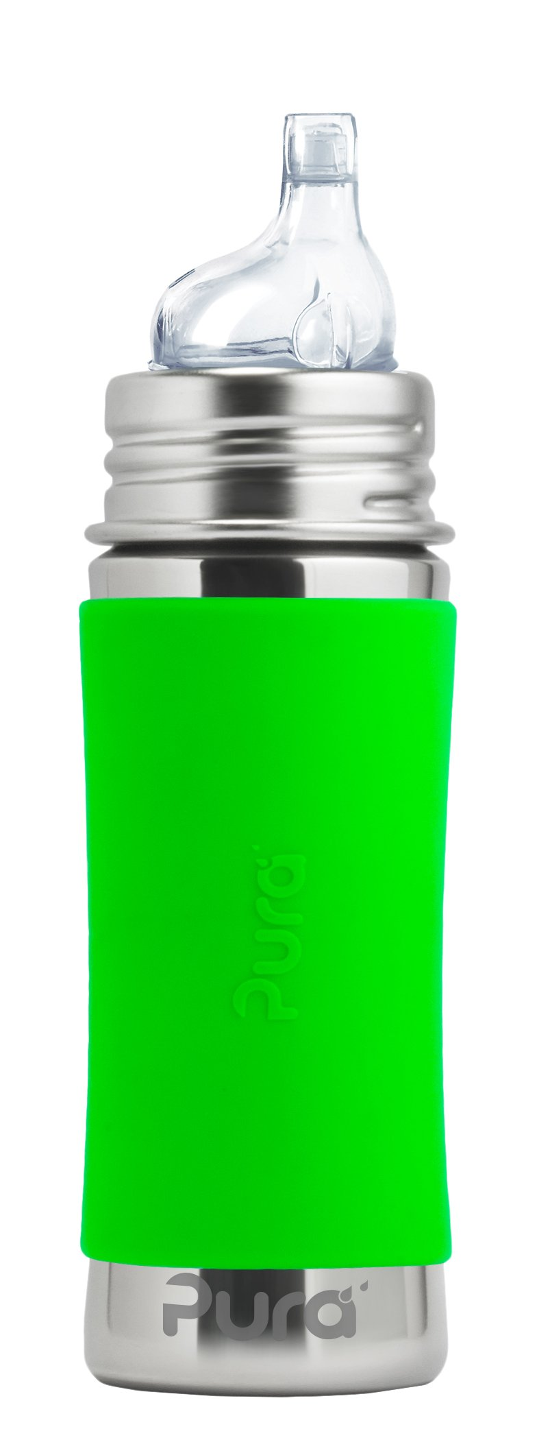 Pura Kiki 11 oz / 325 ml Stainless Steel Sippy Cup with Silicone XL Sipper Spout & Sleeve, Green (Plastic Free, NonToxic Certified, BPA Free)