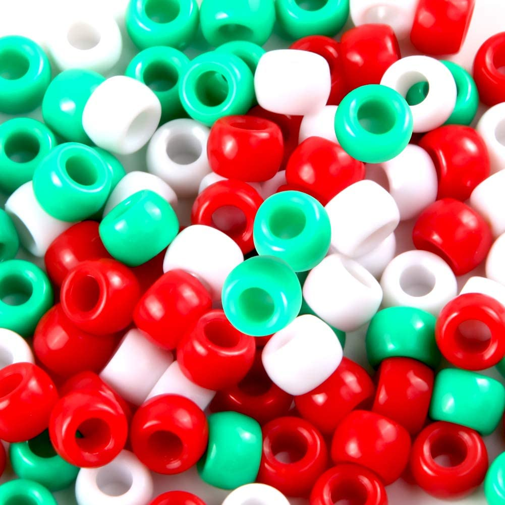 1200 Pieces Plastic Pony Beads Assorted Opaque Pony Beads Christmas Round Beads with Storage Box Chenille Stems Pipe Cleaners for Christmas Decorations DIY Crafts Christmas Pony Beads