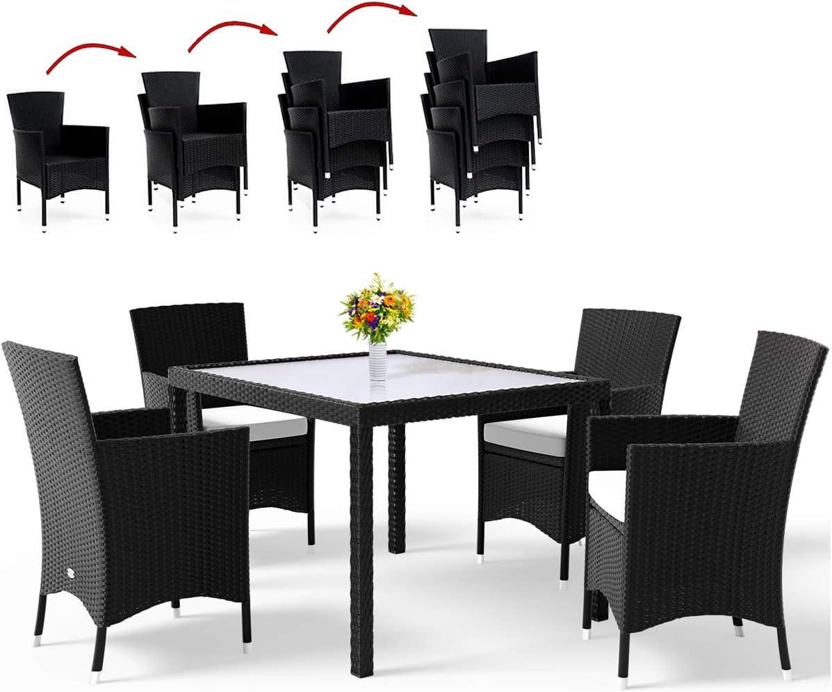 Deuba Conjunto de jardín 4 sillas apilables de poliratán Negro y una Mesa Cojines 7cm Grosor Set de Muebles de terraza