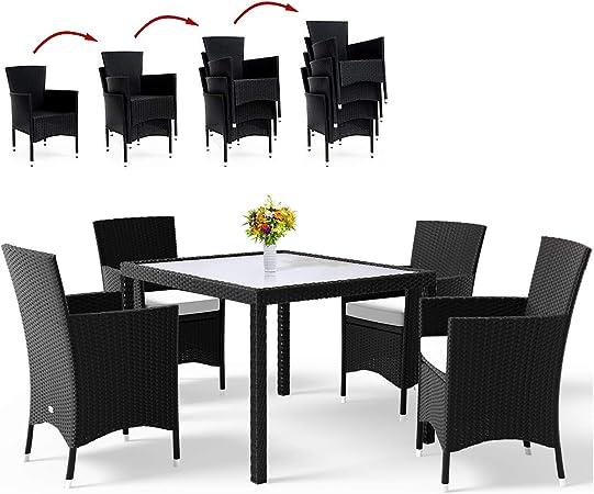 Amazon De Deuba Poly Rattan Sitzgruppe 4 1 Stapelbare Stuhle
